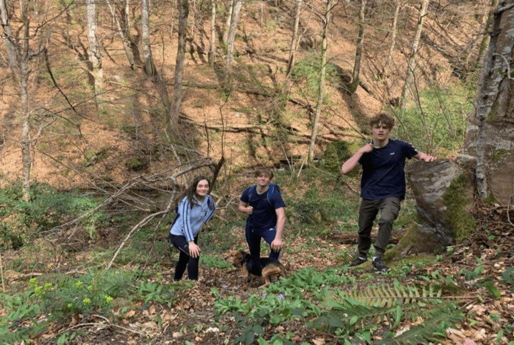 louis and 3 friends in a forest